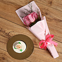 Pink Roses Bouquet and Mono Cake Combo: Send Flowers and Cakes to UAE