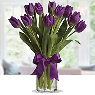Purple Tulip Arrangement: Send Birthday Flowers to UAE