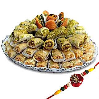 Rakhi with Baklava Sweets: Rakhi With Sweets to UAE