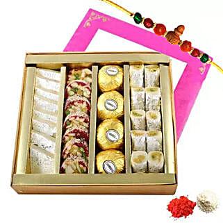 Rakhi with Mixed Sweets Box: Send Rakhi With Sweets to UAE