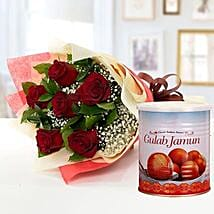 Red Roses Bouquet and Gulab Jamun Combo: Flower Bouquets to UAE