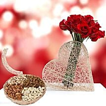 Roses Bunch and Dry Fruits Combo: Mother's Day Flower and Dry Fruits to UAE