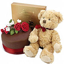 Chocolate Rose Cake With Bear And Lindt: Birthday Gifts to UK
