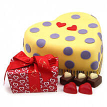 Hearts And Dots Cake Gift: Chocolate Delivery in London UK