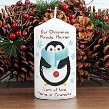 Personalized Felt Stitch Penguin Candle: Personalised Anniversary Gifts