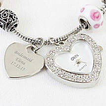 Personalized Pink Watch Charm Bracelet: Send gift to London
