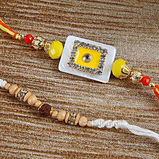 Sizzling Yellow Stone rakhi Set: