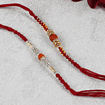Two Premium Rudraksh Maroon Rakhi Set: Rakhi for Brother - UK