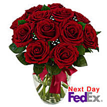 12 stem Red Rose Bouquet: Same Day Flower Bouquet Delivery in USA