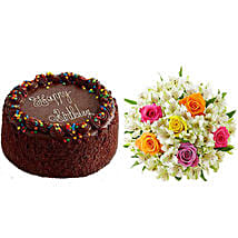 Chocolate Cake with Assorted Rose and Lily Bouquet: Cakes for Birthday