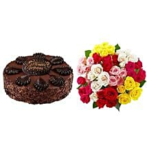 Chocolate Cake with Assorted Roses: Send Cakes to Virginia Beach