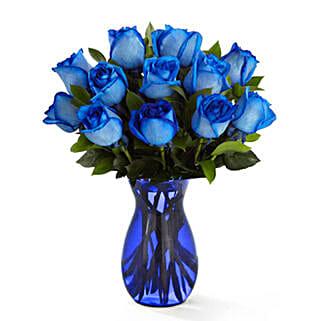 Deep Blue Hue Rose Bouquet: Roses