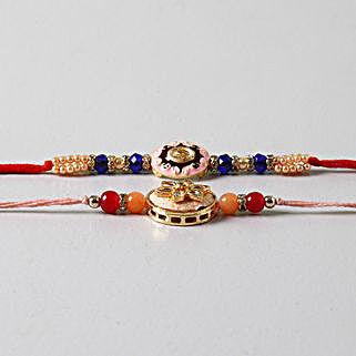 Embellished Beads Rakhis Set Of 2: Rakhi to Sunnyvale