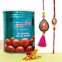 Gulab Jamun And Lumba Rakhi Set: Rakhi to Jersey