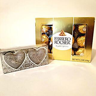 Heart Shaped Diyas & Ferrero Rocher Combo: Diwali Gifts to Charlotte