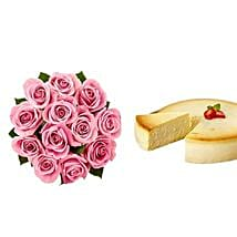 NY Cheescake with Pink Roses: Valentine's Day Flowers N Cakes to USA