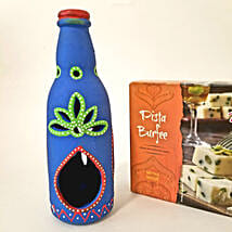 Unique Bottle Diya & Pista Barfi Combo: Diwali Gift Delivery in USA