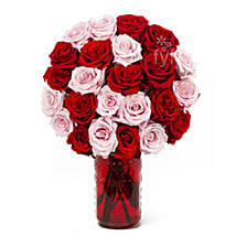 Vase Arrangement Of 24 Red N Pink Roses: Rose Day Gifts to USA